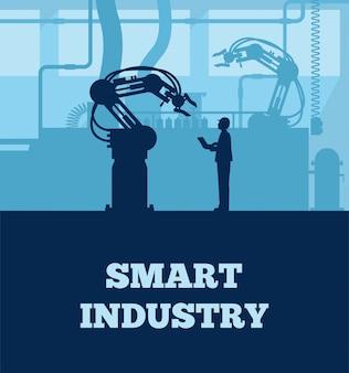 Concetto di industria 4.0, silhouette della linea di produzione automatizzata con lavoratore.