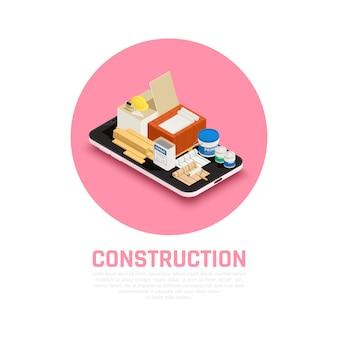 Concetto di industria dell'edilizia con l'illustrazione isometrica dell'attrezzatura di riparazioni e della costruzione