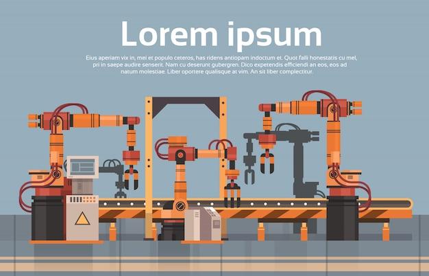 Concetto di industria di automazione industriale del macchinario della catena di montaggio automatica del trasportatore di produzione di fabbrica