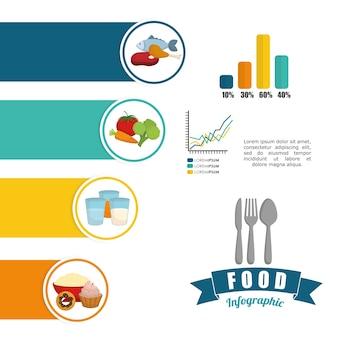 Concetto di infografica con progettazione icona cibo sano