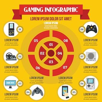 Concetto di infografica di gioco, stile piano
