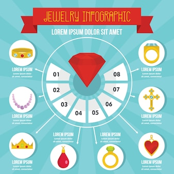 Concetto di infografica gioielli, stile piano