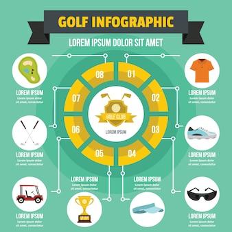 Concetto di infografica golf, stile piano