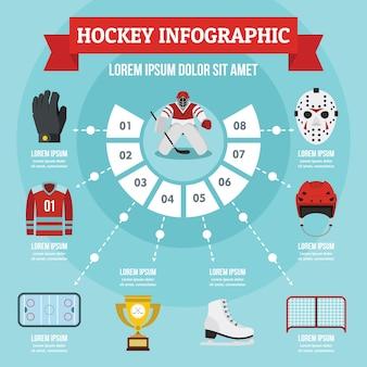 Concetto di infografica hockey, stile piano