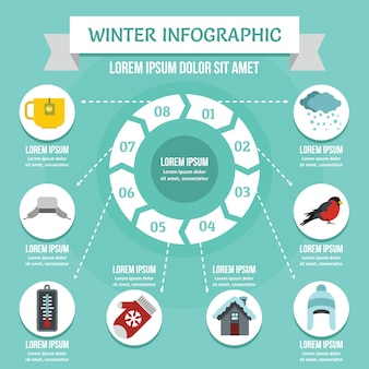 Concetto di infografica invernale, stile piano
