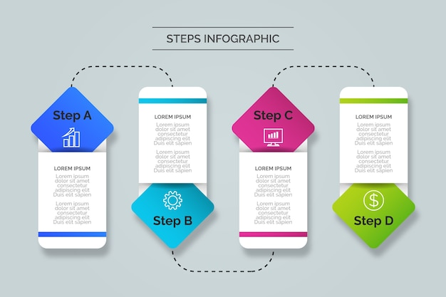Concetto di infografica passi