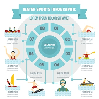 Concetto di infografica sport acquatici, stile piano