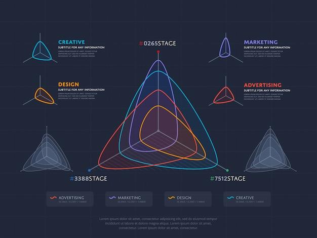 Concetto di infographics di affari con quattro indici
