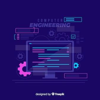 Concetto di ingegneria computer piatto