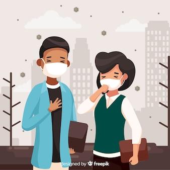 Concetto di inquinamento con giovane coppia in città