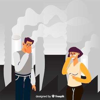 Concetto di inquinamento con persone di fronte alla centrale elettrica