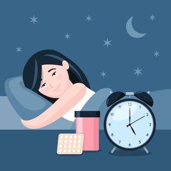 Concetto di insonnia con donna e orologio