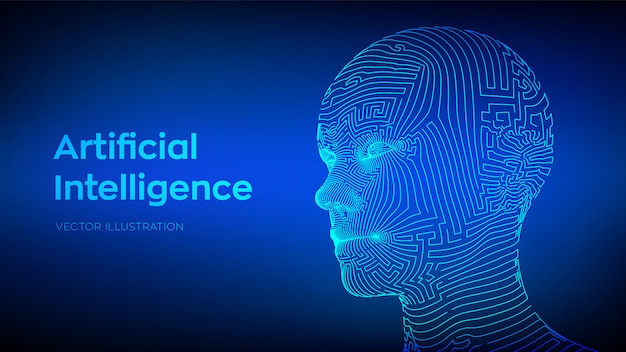 Concetto di intelligenza artificiale. ai cervello digitale. volto umano digitale astratto. testa umana nell'interpretazione digitale del robot