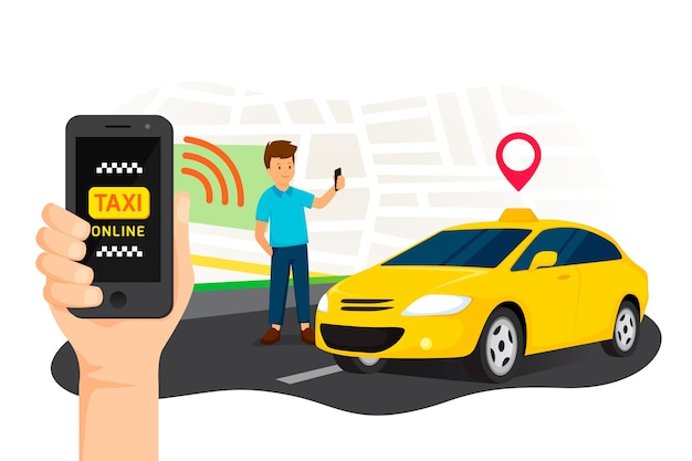 Concetto di interfaccia app taxi