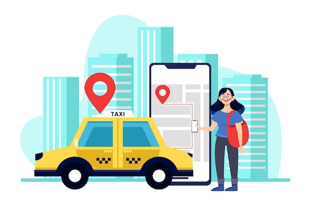 Concetto di interfaccia app taxi
