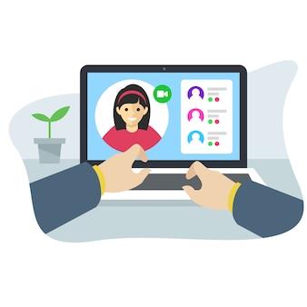 Concetto di interfaccia dell'applicazione conferenza online