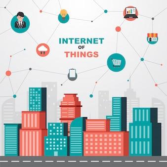 Concetto di internet of things. città intelligente e rete di comunicazione wireless.