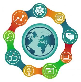 Concetto di internet vettoriale con globo