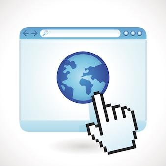 Concetto di internet vettoriale - finestra del browser con il globo