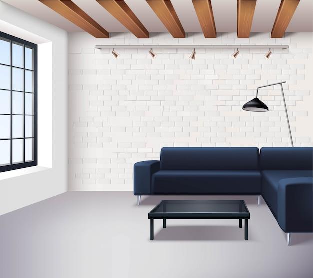 Concetto di interni loft realistico