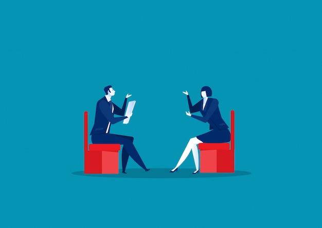 Concetto di intervista e conversazione di uomini d'affari