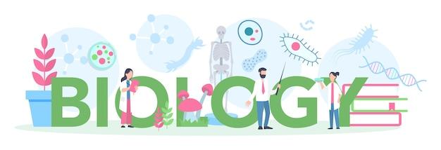 Concetto di intestazione tipografica di soggetto scolastico di biologia. scienziato che esplora l'uomo e la natura. lezione di anatomia e botanica. idea di educazione e sperimentazione.