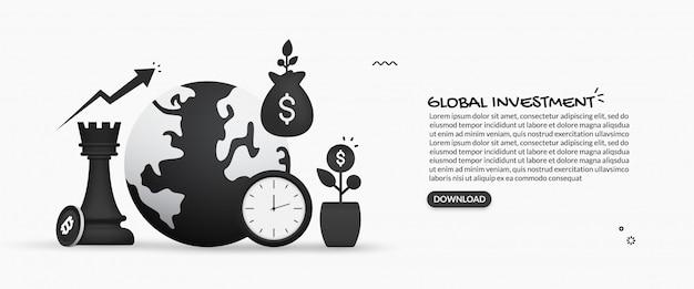 Concetto di investimento aziendale globale, illustrazione di ritorno su investimento, aumento finanziario