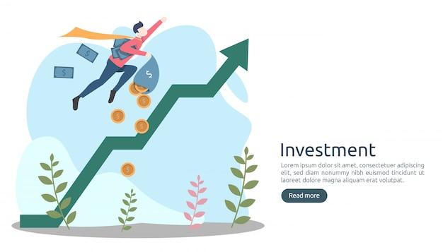 Concetto di investimento aziendale. moneta del mucchio del dollaro, gente piccola, soldi. modello di pagina di destinazione moderno