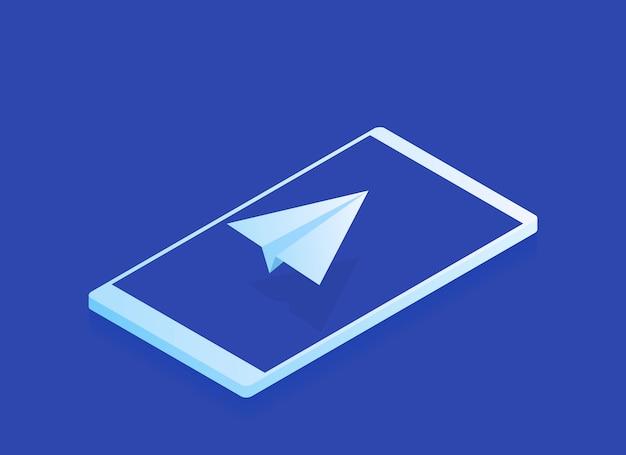 Concetto di invio di e-mail e messaggi, aereo di carta isometrica sullo schermo del telefono