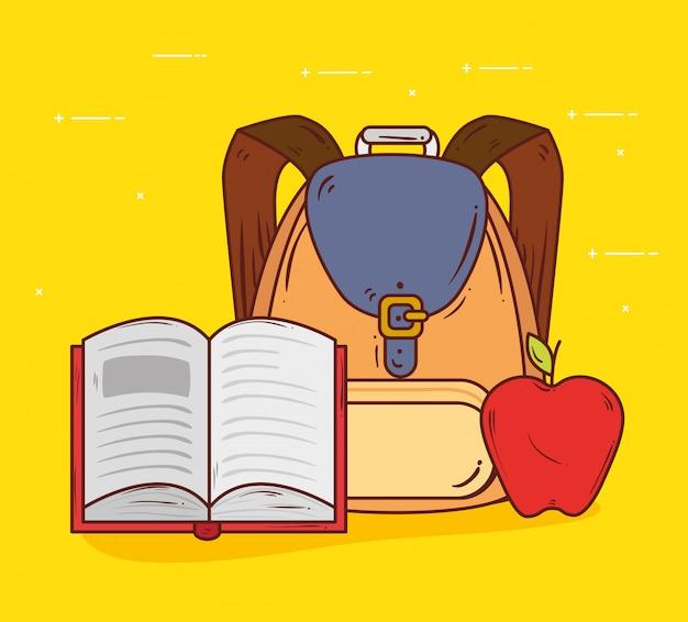 Concetto di istruzione, borsa di scuola sveglia con il libro aperto e progettazione dell'illustrazione di vettore della frutta della mela