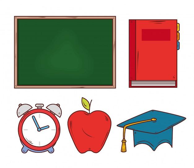 Concetto di istruzione, lavagna con progettazione dell'illustrazione di vettore delle icone di istruzione
