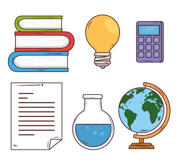 Concetto di istruzione, pila di libri con progettazione dell'illustrazione di vettore delle icone della scuola