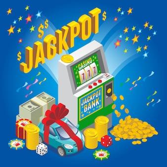 Concetto di jackpot isometrico con chip di slot machine dadi denaro pila monete d'oro auto isolata