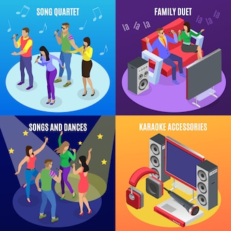 Concetto di karaoke isometrico 2x2 con icone di faretti stelle e immagini di persone alla festa ktv
