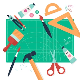 Concetto di laboratorio creativo fai da te con strumenti