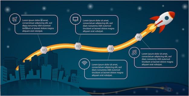 Concetto di lancio del razzo infografica per business, startup, istruzione, tecnologia e presentazioni