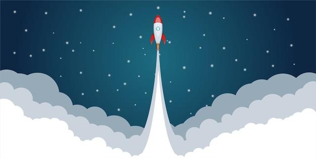 Concetto di lancio spaziale di razzo, in stile cartone animato