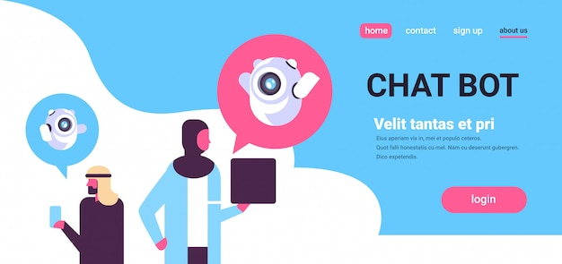 Concetto di landing page con chatbot