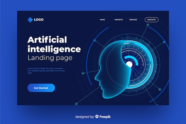 Concetto di landing page con intelligenza artificiale