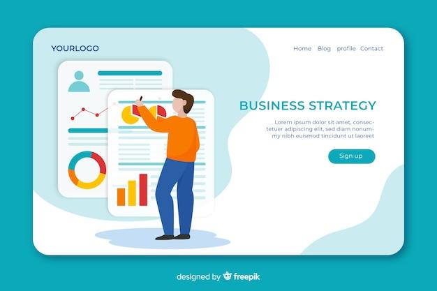 Concetto di landing page con strategia aziendale