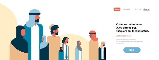 Concetto di landing page con uomini d'affari arabi
