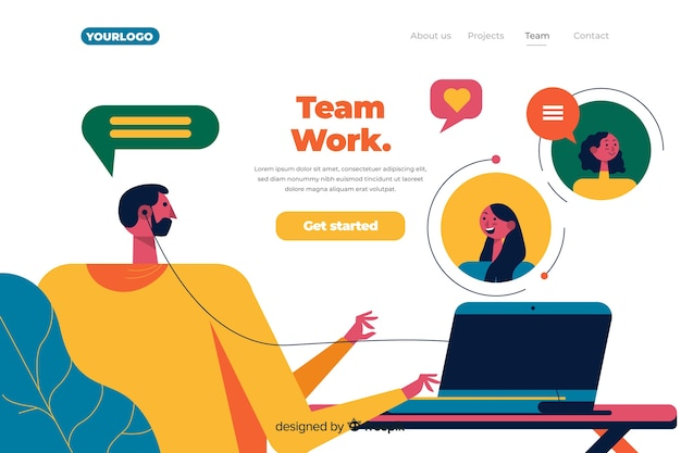 Concetto di landing page dei team di collegamento