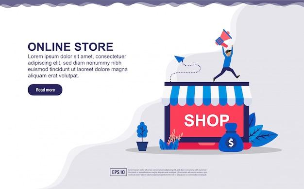 Concetto di landing page del negozio online