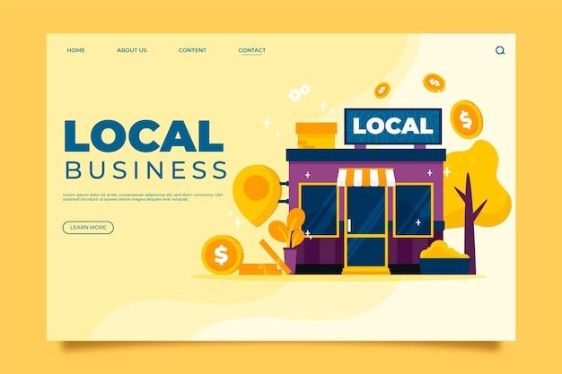 Concetto di landing page di attività commerciali locali