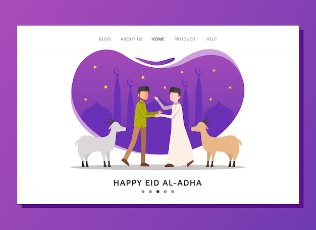 Concetto di landing page di eid al adha