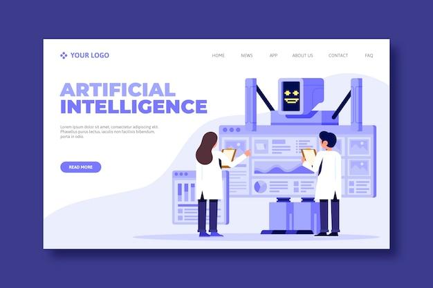 Concetto di landing page di intelligenza artificiale