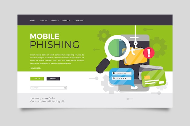 Concetto di landing page mobile di phishing