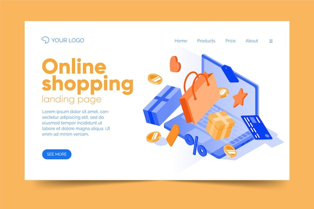 Concetto di landing page online di acquisto ismoetrico