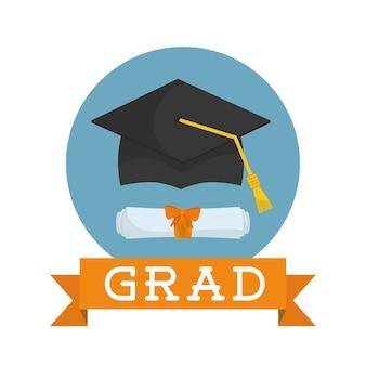 Concetto di laurea con disegno dell'icona,