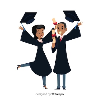 Concetto di laurea con studenti felici